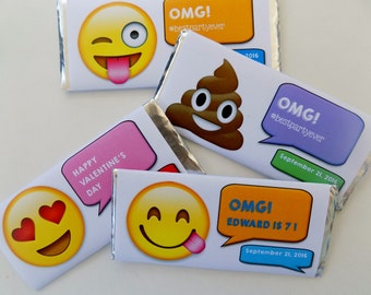 Emoji Party Candy Bar Wrappers with Hershey bar-smiley face emoji candy, poop emoji candy, kids emoji party, text party, kids emoji favor