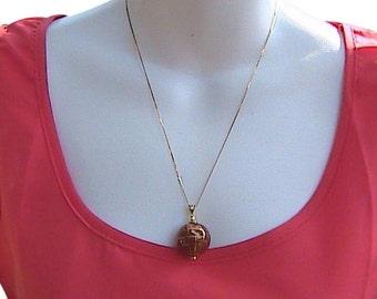 14k Yellow Gold Globe Cloisonne Pendant Necklace