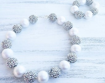 Silver and White Bubblegum Necklace - Sparkle Necklace - Girl Toddler Necklace - Flower Girl Necklace - 1st Birthday Necklace