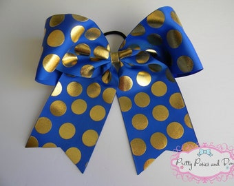 Royal Blue and Gold Cheer Bow, Metallic Gold Cheer Bow