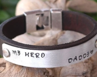EXPRESS SHIPPING, Personalized Men Bracelet, Birthday Gift for Dad, Mens Leather Bracelet, Personalized Bracelet, Gift for Him, Gift for Dad