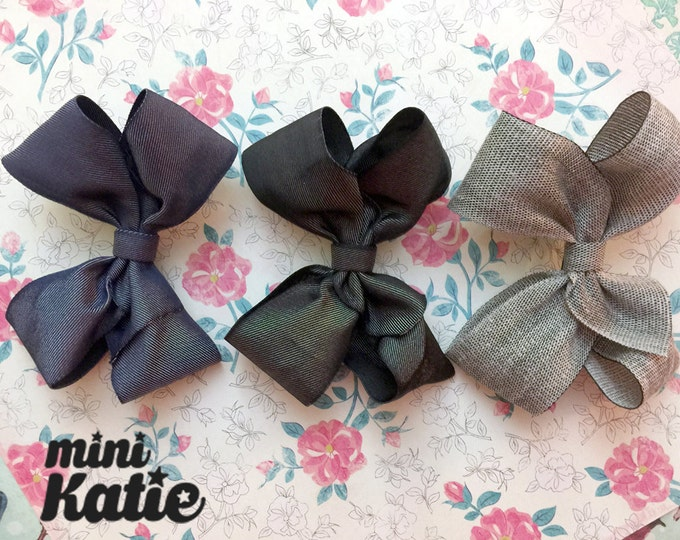 mini Katie - mono Ribbon Bow Hair Barrette, Hair Clip for baby girls Toddlers Infants