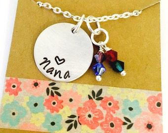 Nana Birthstone Necklace, Nana Necklace, Grandma Necklace, Mother's Day, Personalized Grandma Necklace, Grandma Birthstone Necklace