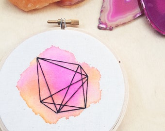 Geometric Shape Art Watercolor Hand Embroidery Hoop Art Pink Decor Geometric Art Modern Art Hipster Abstract Art Line Art Bright Colors