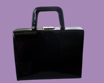 Vintage 1970 Black Lacquer Attaché case Briefcase Beauty case with red lining and lock with key