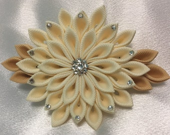 Ivory And Pale Gold Kanzashi Style French Barrette