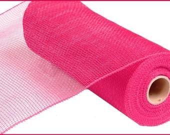 "10"" Hot Pink Deco Mesh RE800211, Hot Pink Deco Poly Mesh, Fuchsia Deco Mesh, Wreath Supplies  (10 yards) - RE800211"