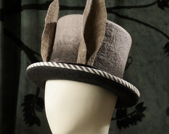 Top Hat With Rabbit Ears - March Hare Top Hat - Black and Gray Top Hat - Rabbit Ears - Alice In Wonderland Top Hat