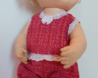 "Red Romper for Remco 14"" Look N Love Dolly Yes/No Baby Dolls"