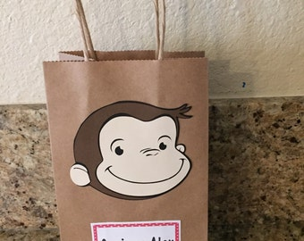 Personalized Curious George Favor Bags, set of 10.