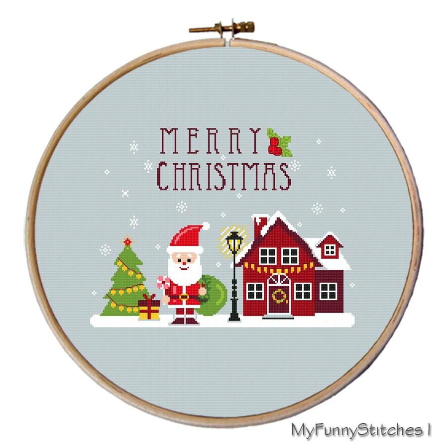 cross stitch christmas ornaments, modern Christmas cross ...