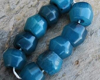 Blue Green Dyed Serpentine Bead Strand