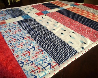 Nautical red, white, and blue quilt