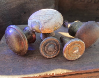Reclaimed Set of Five Brass Pull Knobs