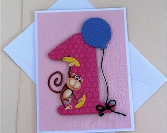 Happy 1st Birthday Card - Monkey