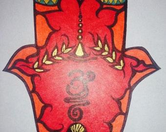 Red Hamsa Print