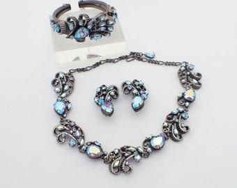 Vintage Necklace bracelet earring set blue aurora borealis rhinestones AB085