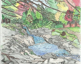 Waterfall coloring page, Baxter State Park Maine