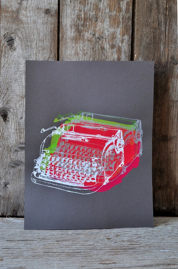 Dactylo #19, hand pulled silkscreen print, 8.5 x 11 inches, open edition.