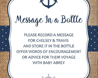Good Message In A Bottle Baby Shower Card, Nautical Advice Cards For Baby Shower,  Printable