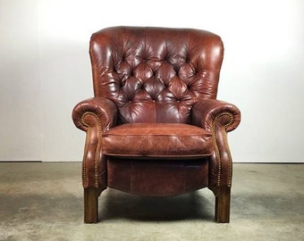 ÇHandsome Tufted Leather Lounge Chair Recliner With Rivet Detailing - SOLD