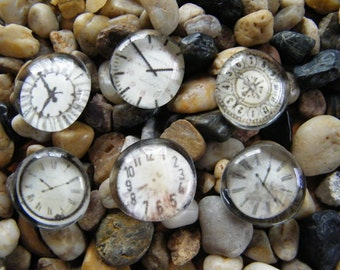 Clock Faces Glass Pebble Magnets