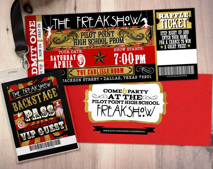 CIRCUS, Freak show party prom Invitation- Carnival invitation-prom invitation- graduation party invitation-school dance invitation
