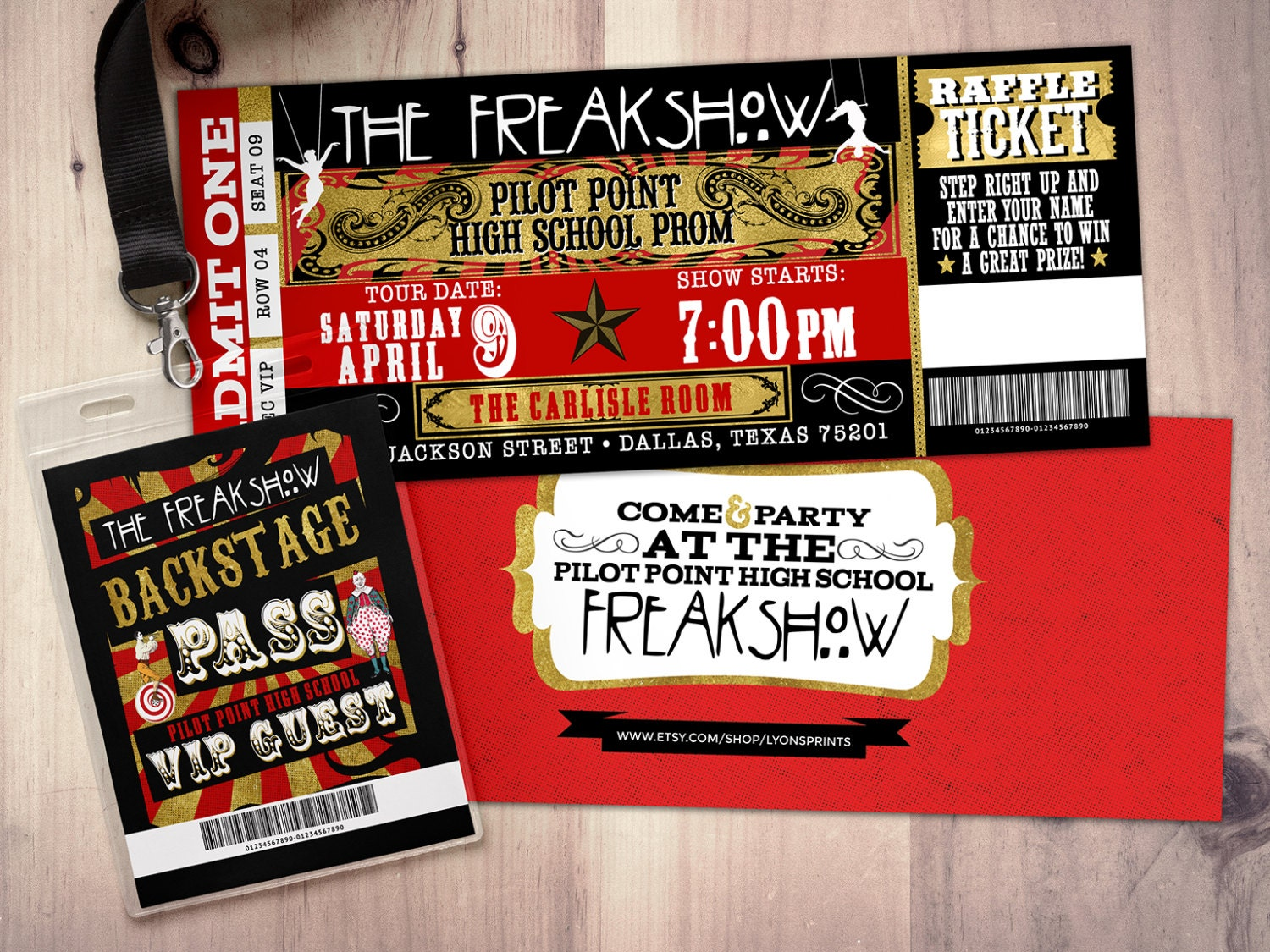 CIRCUS, Freak show party prom Invitation- Carnival invitation-prom ...