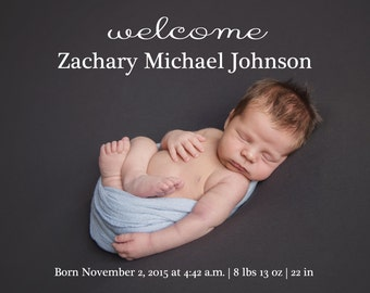 Baby Boy Birth Announcement with 2 pictures (front and back)