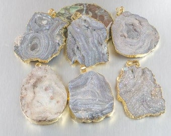 Druzy Gold Wrapped Pendant Average 1.75 inches