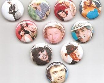 Dallas TV show The Ewing family JR Set 10 Pins Button Badge Pinback