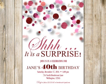 SURPRISE 40th 50th 60th BIRTHDAY Invitations, Digital Red Pink Glitters Birthday Bash Invite, Diy Printable It's A Surprise Woman Birthday