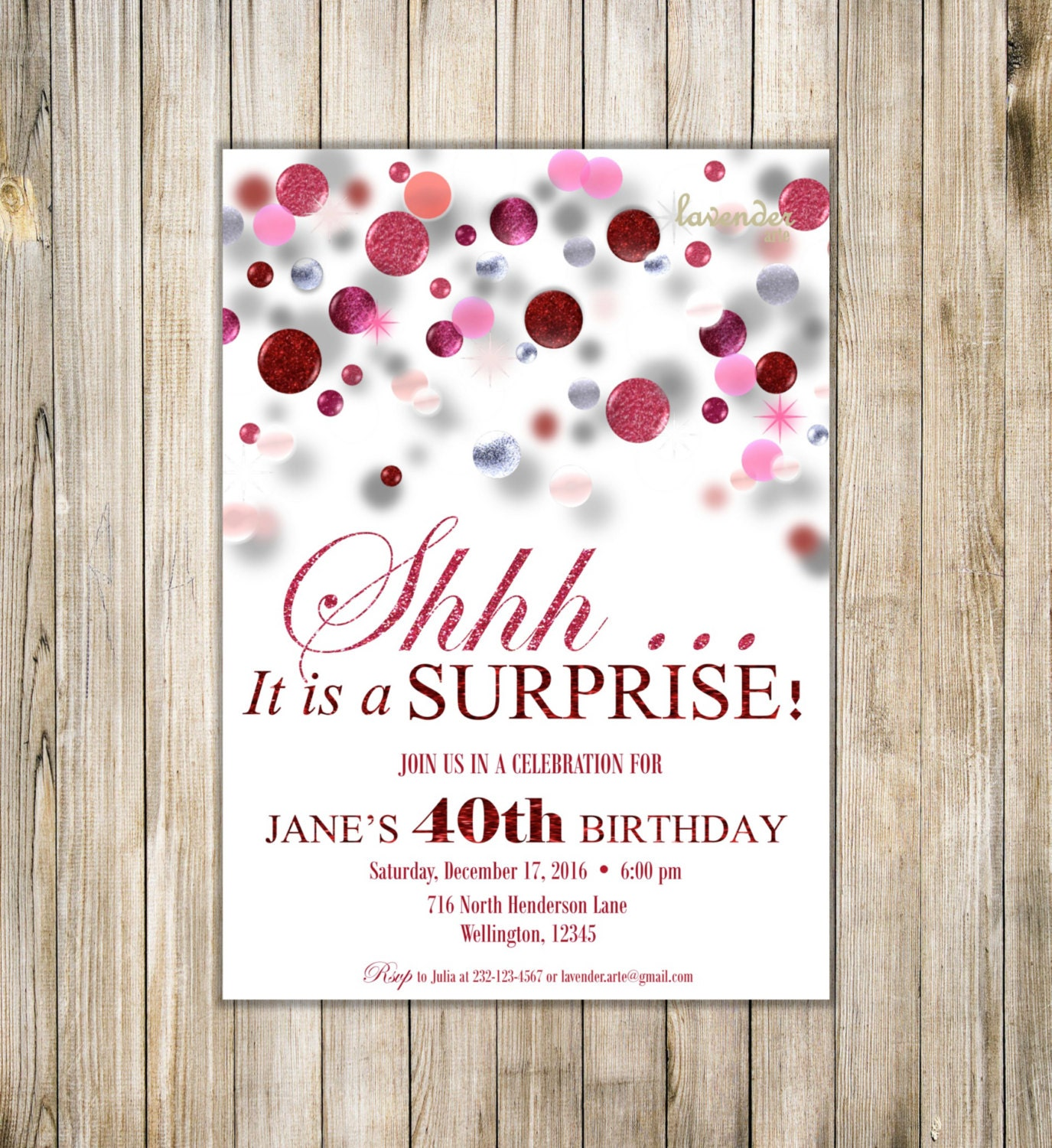 SURPRISE 40th 50th 60th BIRTHDAY Invitations, Digital Red Pink ...