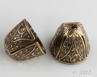 Oxidized brass embossed cone cap.  12x14 mm. 4 pcs. b9-2226(e)