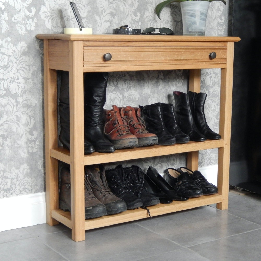 console table oak console table with drawer and 2 shelves. Black Bedroom Furniture Sets. Home Design Ideas