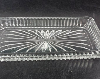 Mid Century art deco crystal glass butter tray serving dish