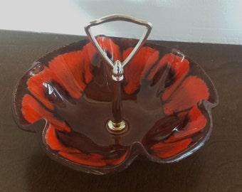 SALE Mid Century Bright Orange and Brown Scalloped Edge Bowl Dish Treasure Craft