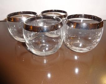 4 Vintage Silver Rimmed Glasses Mad Men Style