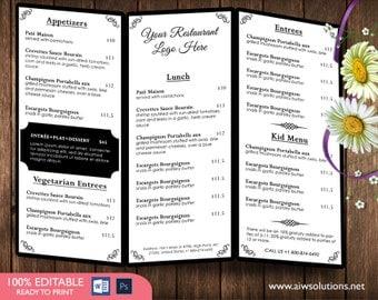 Trifold coffee MenuTemplates, drink Menu Template, Wedding Menu Template,trifold Food Menu Template,DIY bar menu template ,bar menu, id02
