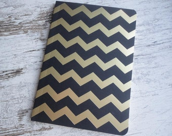 "Notebook ""black/gold chevron"""