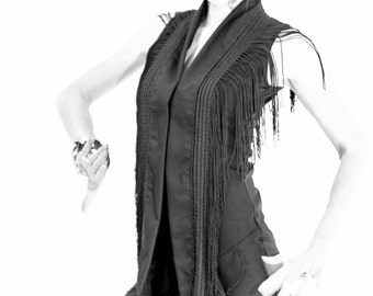 long flamenco black scarf with fringes
