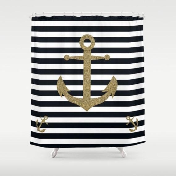 Nautical Shower Curtains Striped Anchor Cute Gift Beach By Narais