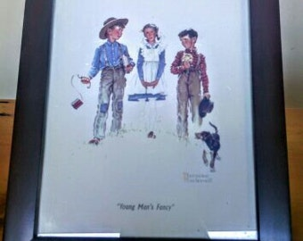 """Vintage Framed  Print 8x10 Norman Rockwell Picture """"A YOUNG MANS FANCY"""""""