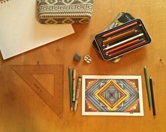 Original, hand-drawn in colored pencil- Downward Diamond in Color