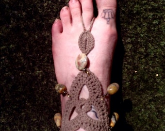 Knit Anklet with crazy lace agate beads.