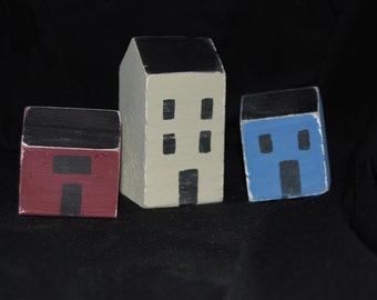 Red, White and Blue Hand Painted Primitive Houses set of 3