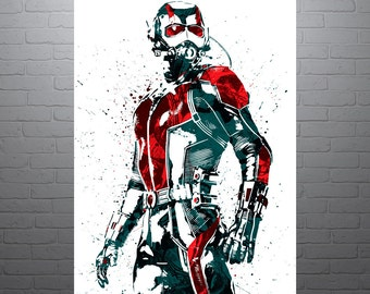 Ant-Man Movie Poster, Art Print, Kids Decor, Watercolor Contemporary Abstract Drawing Print, Man Cave