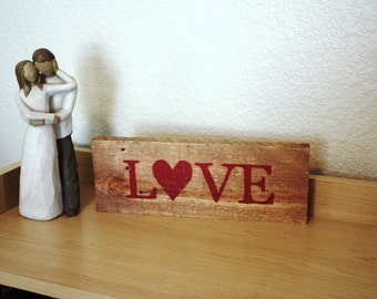 Rustic Wood Love Sign, Reclaimed wood sign