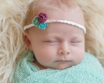 Newborn Headband, Paper Flower Headband, Yarn Headband, Photography Prop, Babyshower Gift, One Size Fits All, Tie Back Headband