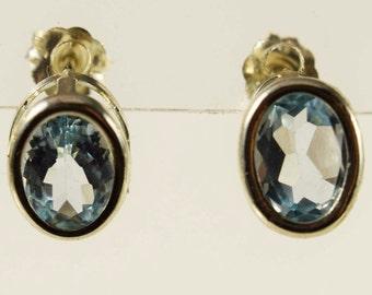 Blue Topaz Bezel Set Earrings